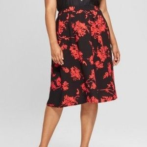Who What Wear Floral Bird Cage Midi skirt